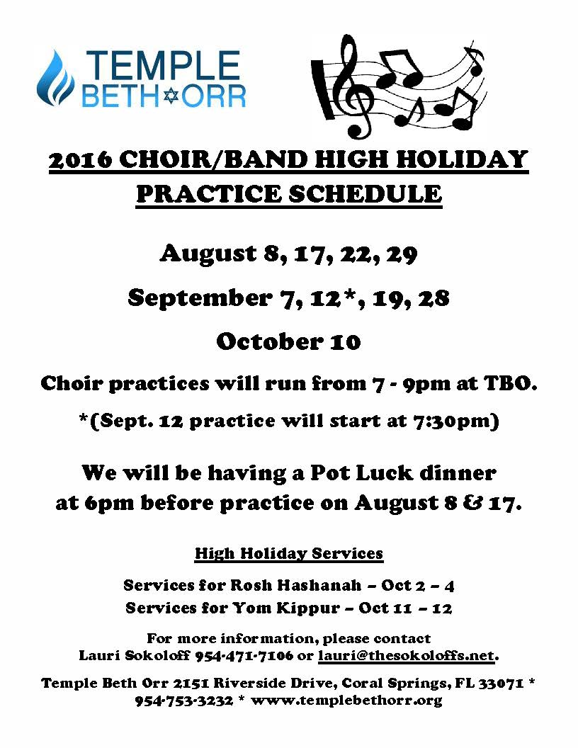 2016 Choir Band High Holiday Practice Schedule contact