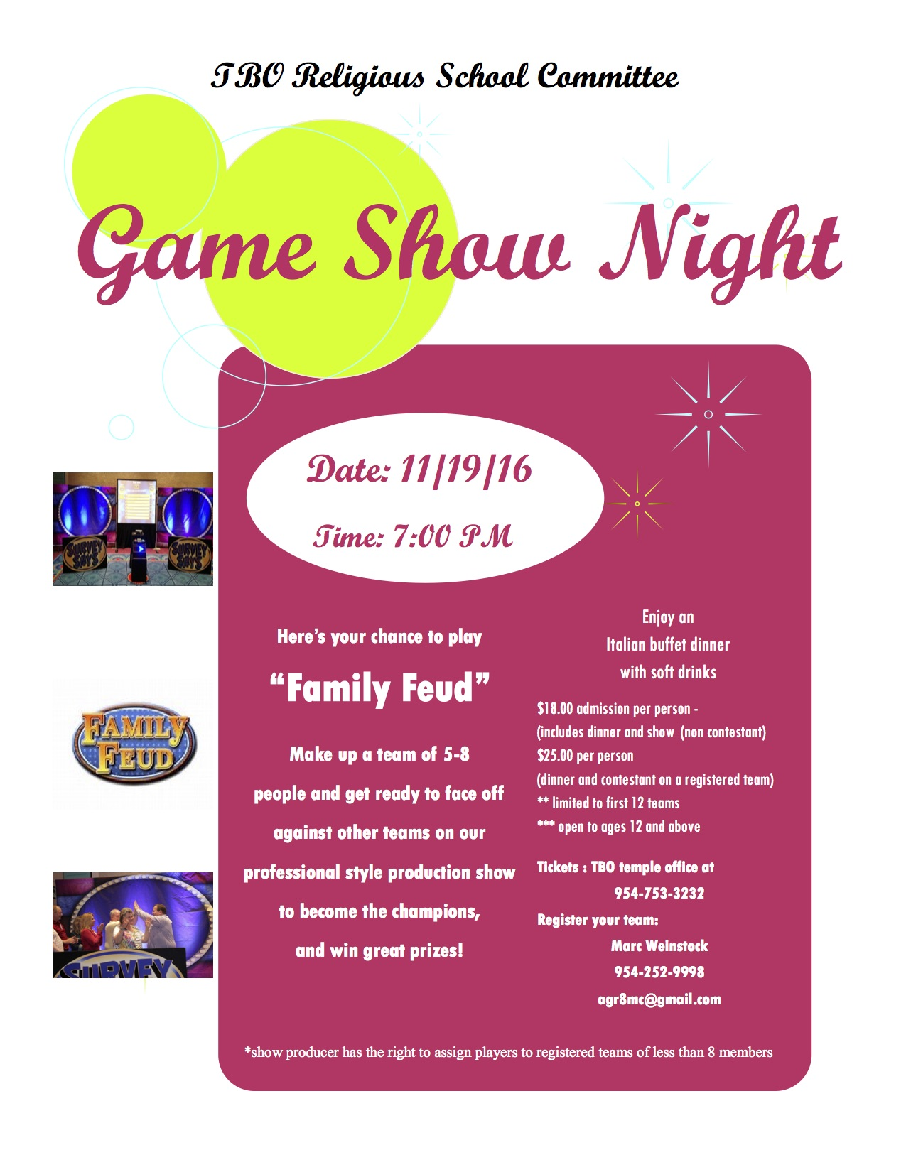 Game Show Night Flyer